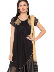 Embroidered Black Faux Georgette Readymade Suit