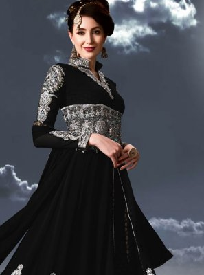 Embroidered Black Floor Length Anarkali Suit