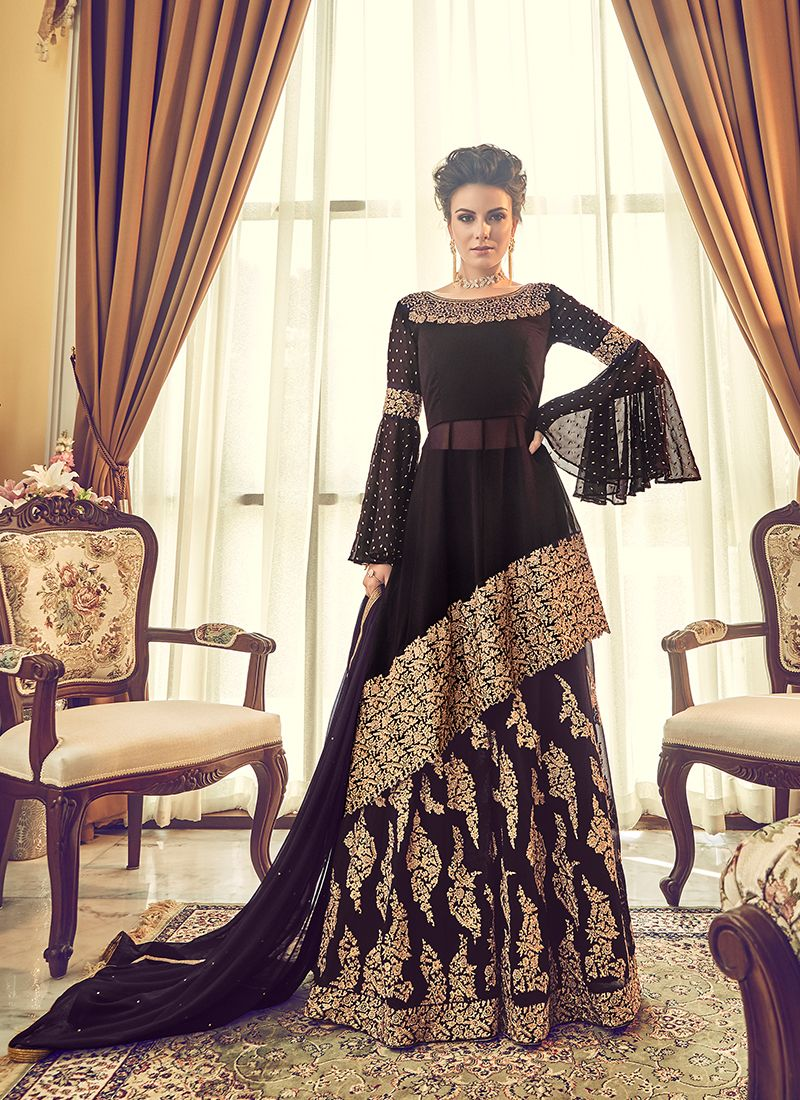 Embroidered Black Georgette Designer Lehenga Choli