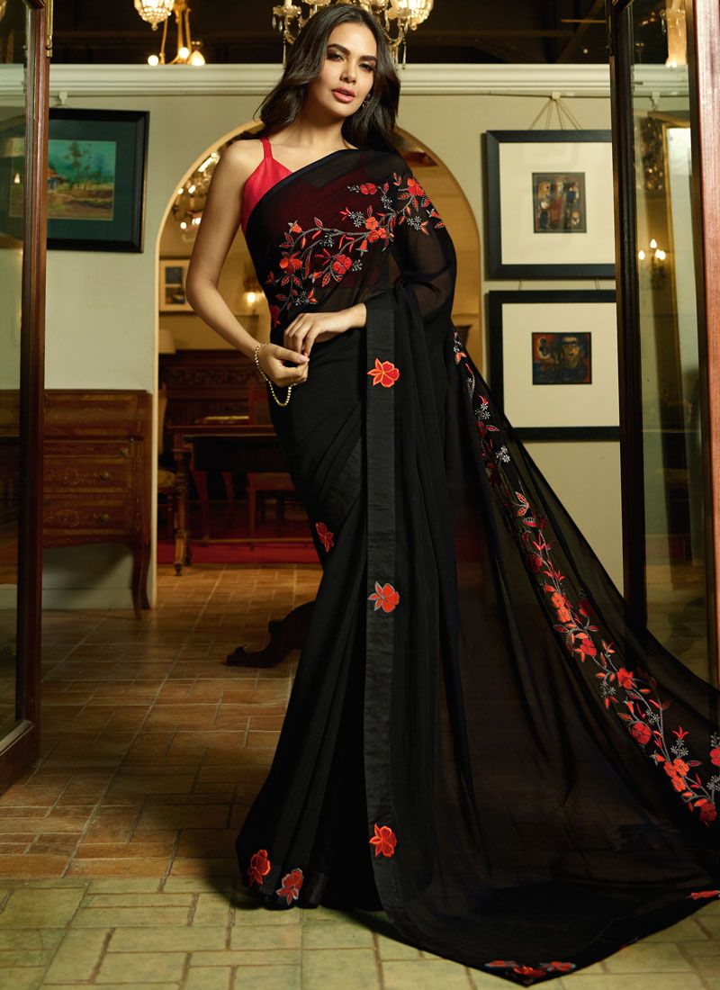 Embroidered Black Silk Designer Traditional Saree