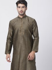 Embroidered Blended Cotton Kurta Pyjama in Black