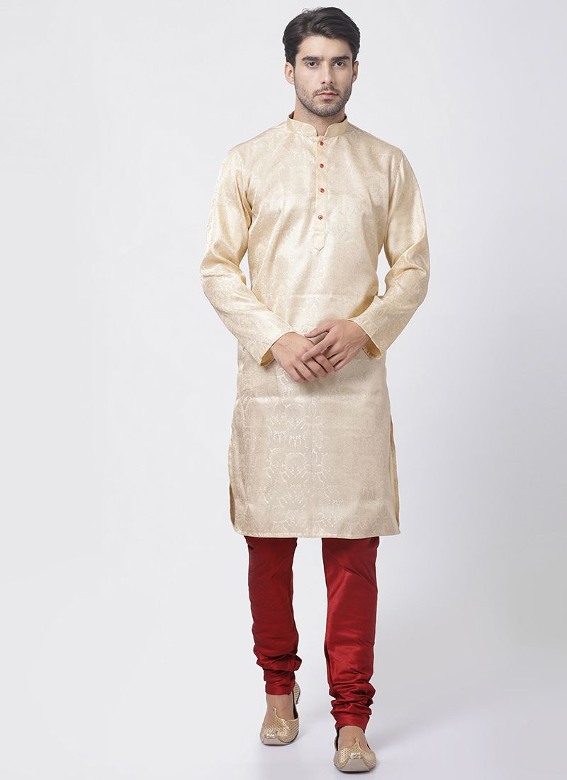 Embroidered Blended Cotton Kurta Pyjama in Gold