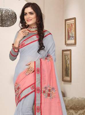 Embroidered Blue and Pink Designer Traditional Saree