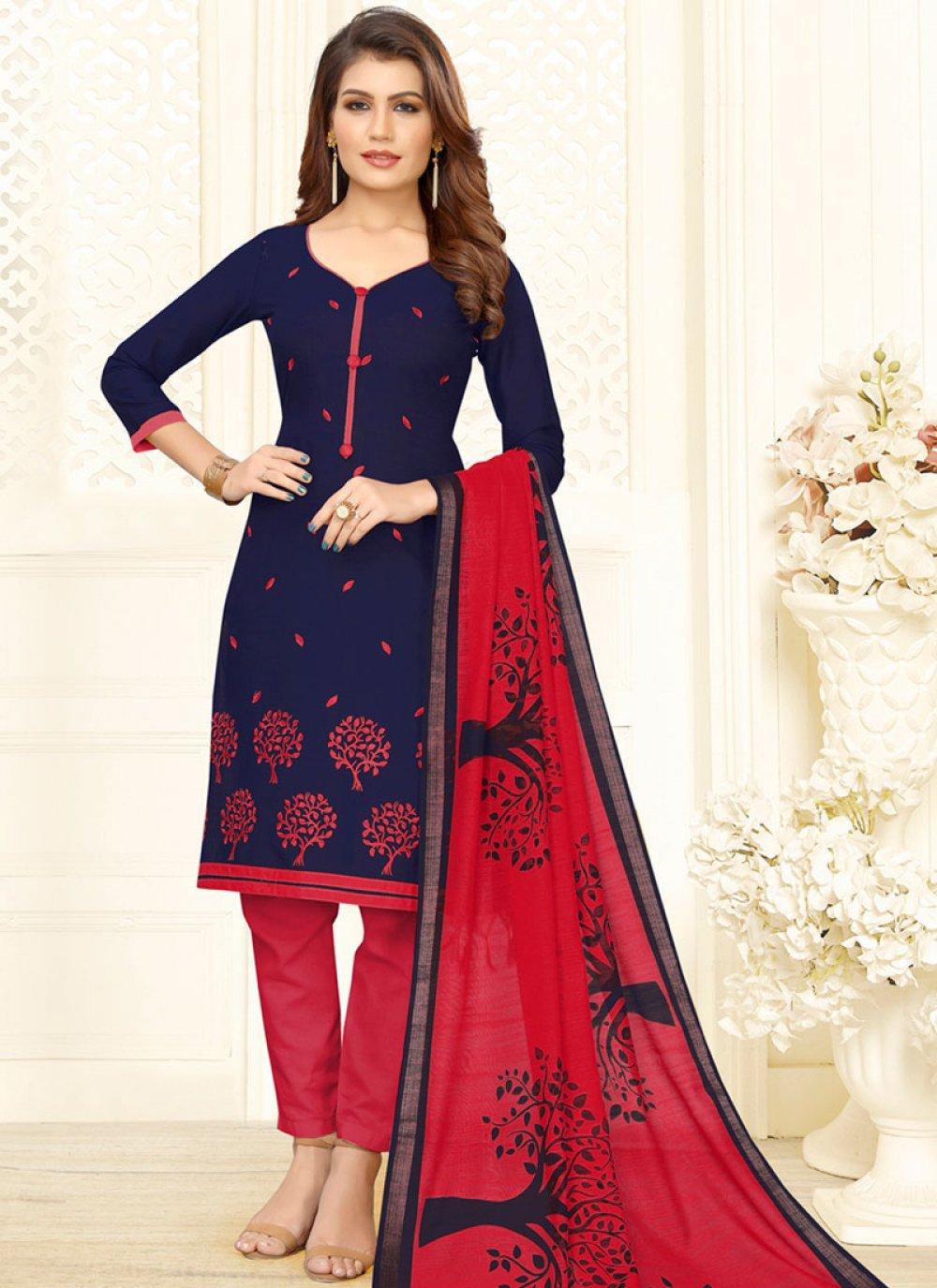 Embroidered Blue and Red Churidar Salwar Kameez