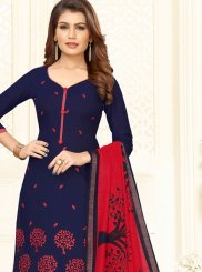 Embroidered Blue and Red Churidar Salwar Kameez
