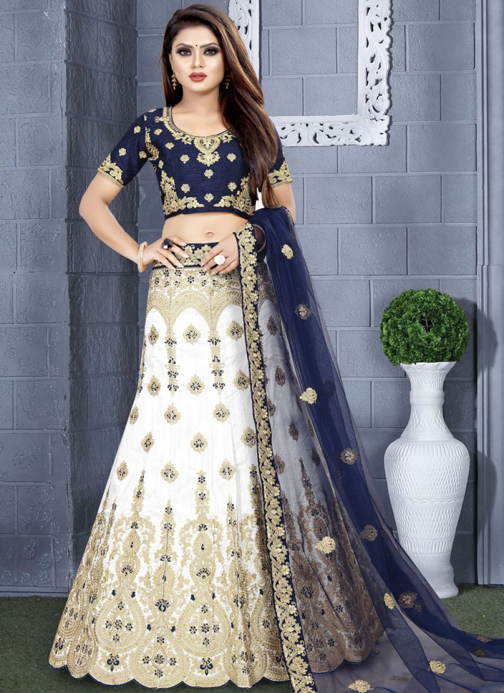 Embroidered Blue and White Art Silk Lehenga Choli