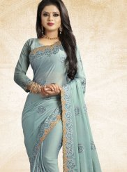 Embroidered Blue Art Silk Designer Traditional Saree