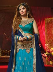 Embroidered Blue Art Silk Lehenga Choli