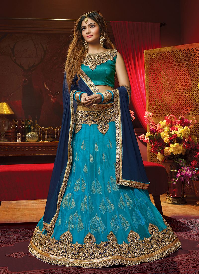 Embroidered Blue Art Silk Lehenga Choli