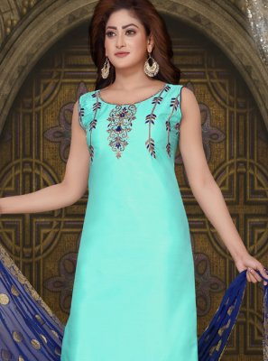 Embroidered Blue Art Silk Readymade Suit