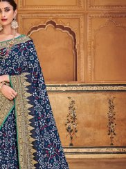 Embroidered Blue Art Silk Traditional Designer Saree