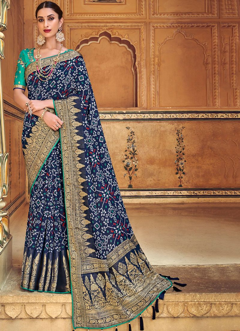 Embroidered Blue Art Silk Traditional Designer Saree