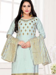 Embroidered Blue Churidar Designer Suit