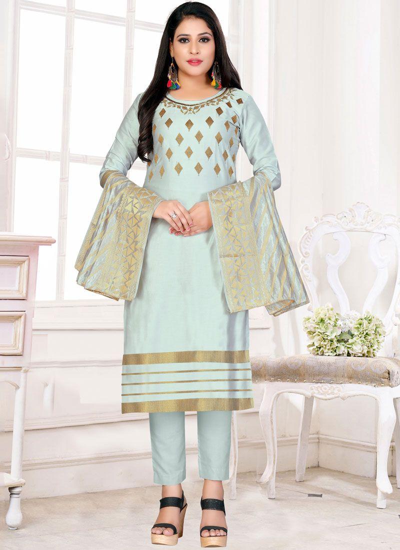 Embroidered Blue Churidar Designer Suit