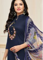 Embroidered Blue Churidar Suit