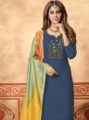Embroidered Blue Cotton Designer Straight Suit