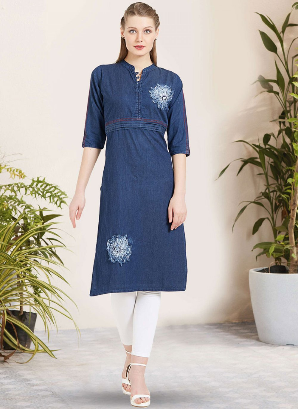 Embroidered Blue Cotton Party Wear Kurti