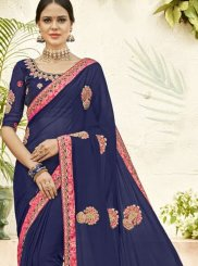 Embroidered Blue Designer Saree