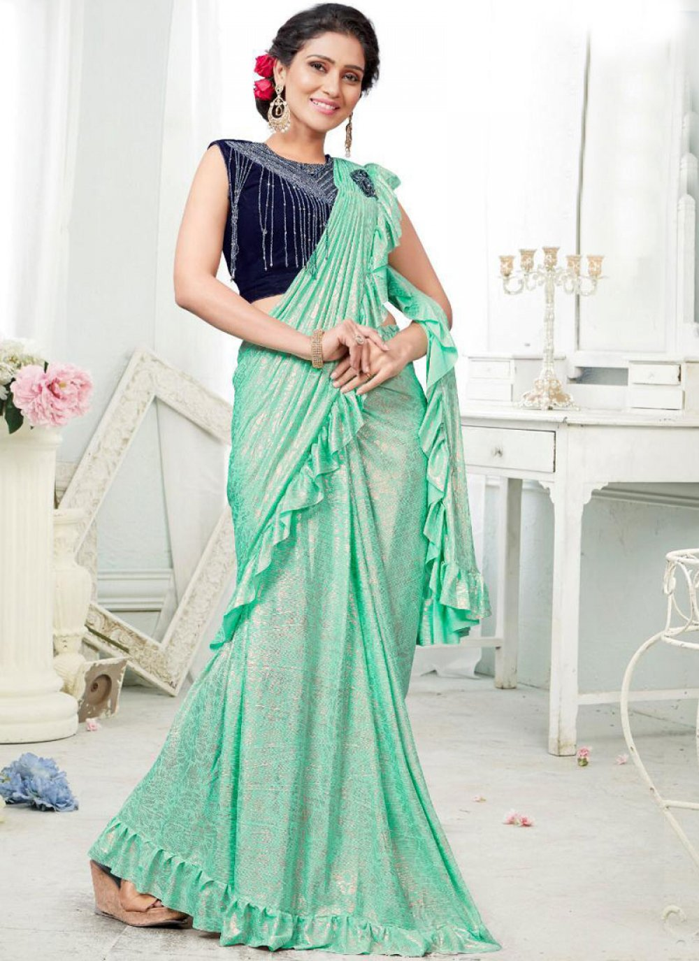 Embroidered Blue Designer Saree