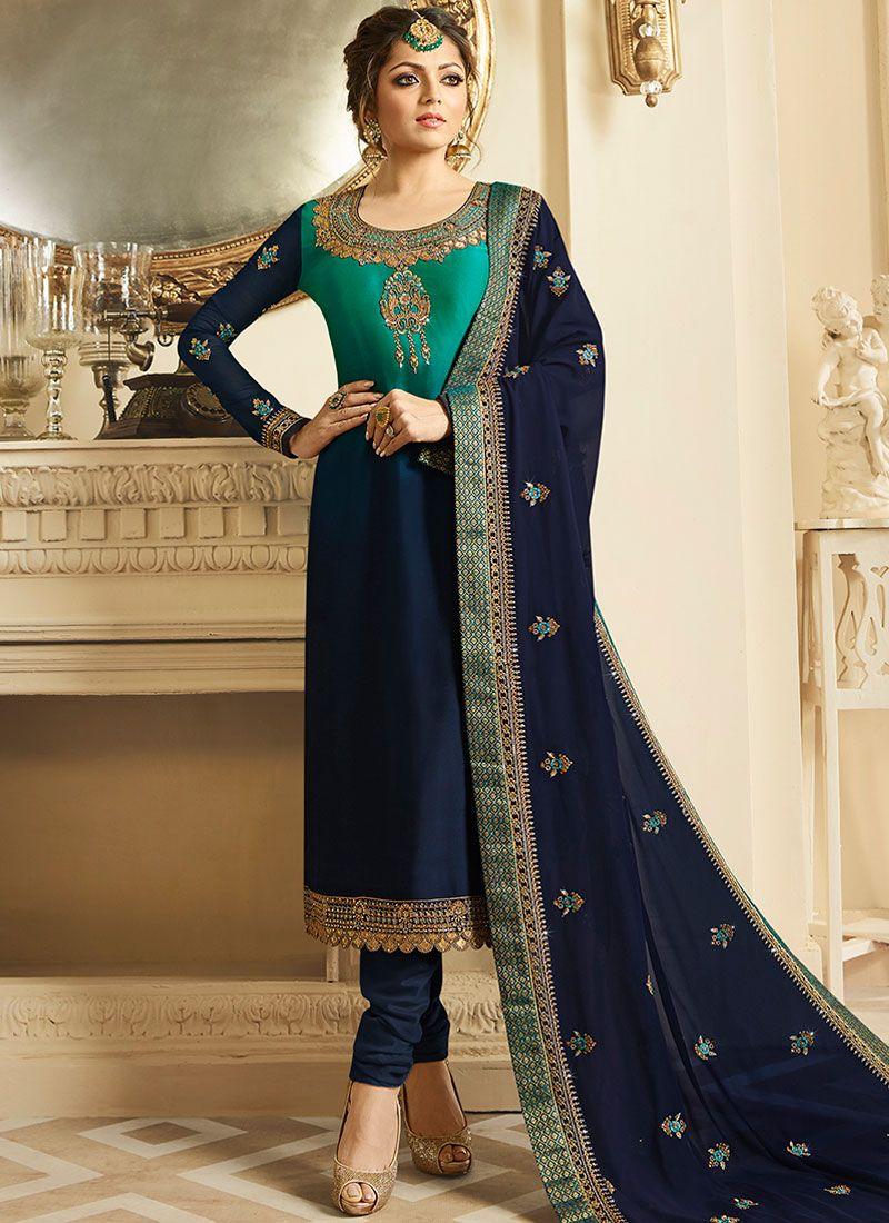 Embroidered Blue Drashti Dhami Churidar Designer Suit