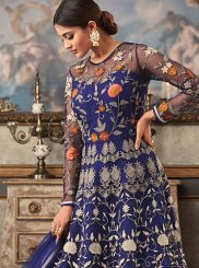 Embroidered Blue Fancy Fabric Floor Length Designer Suit