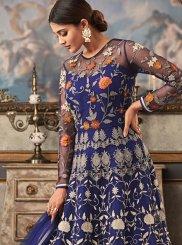 Embroidered Blue Fancy Fabric Floor Length Designer Suit