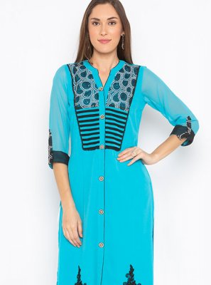 Embroidered Blue Faux Georgette Party Wear Kurti