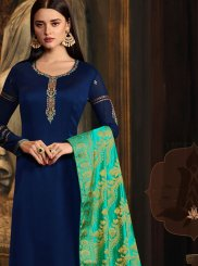 Embroidered Blue Georgette Satin Designer Straight Suit