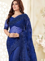 Embroidered Blue Net Classic Designer Saree