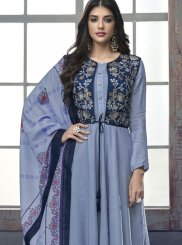 Embroidered Blue Rayon Readymade Suit