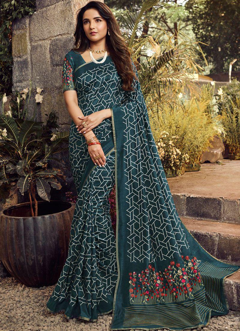 Embroidered Blue Traditional Designer Saree