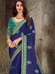 Embroidered Blue Trendy Saree
