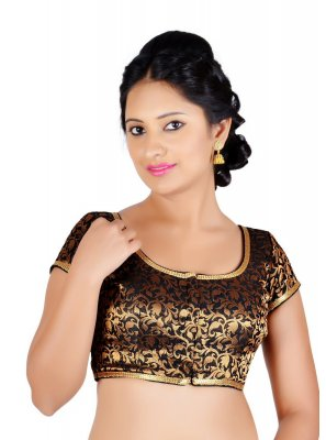 Embroidered Brocade Designer Blouse in Black