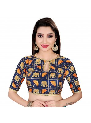 Embroidered Brocade Designer Blouse in Navy Blue