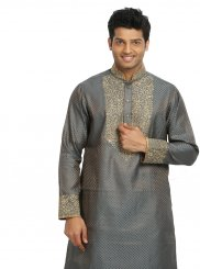 Embroidered Brocade Kurta Pyjama in Grey
