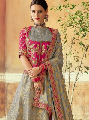 Embroidered Brocade Lehenga Choli in Grey