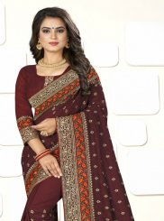 Embroidered Brown Art Silk Traditional Designer Saree