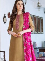 Embroidered Brown Cotton Silk Designer Pakistani Suit