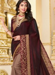 Embroidered Brown Designer Half N Half Saree