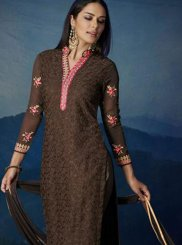 Embroidered Brown Designer Suit