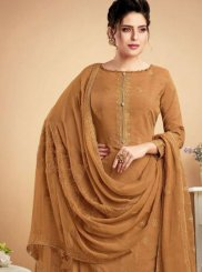 Embroidered Brown Muslin Designer Palazzo Suit