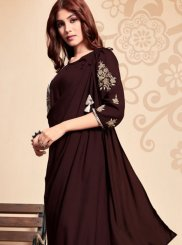 Embroidered Brown Party Wear Kurti