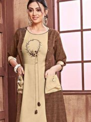Embroidered Brown Rayon Party Wear Kurti