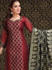 Embroidered Chanderi Churidar Designer Suit