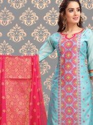 Embroidered Chanderi Churidar Designer Suit in Blue