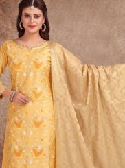 Embroidered Chanderi Churidar Salwar Kameez in Gold