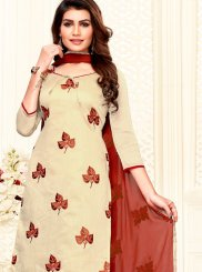 Embroidered Chanderi Churidar Salwar Suit in Beige