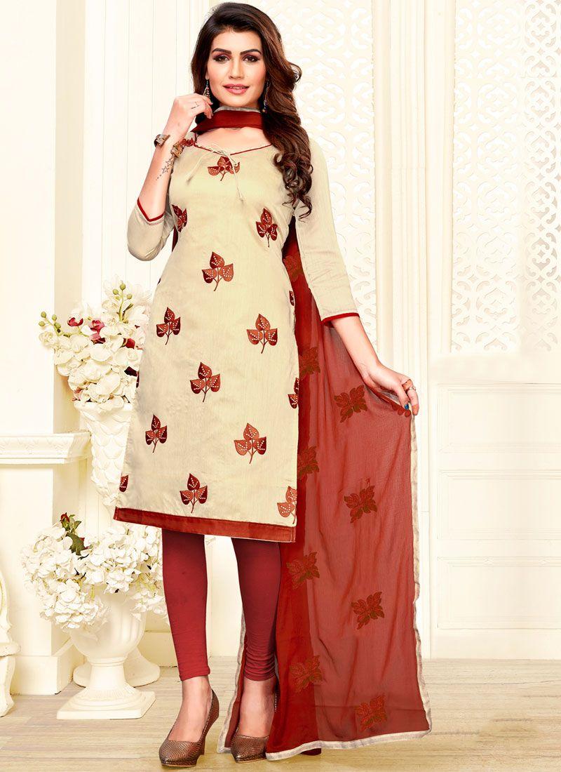 Embroidered Chanderi Churidar Salwar Suit in Beige