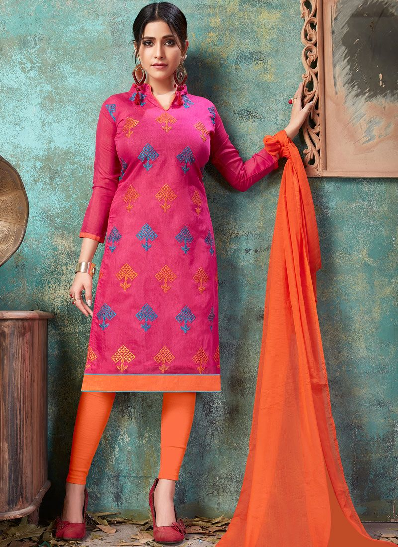 Embroidered Chanderi Cotton Churidar Suit
