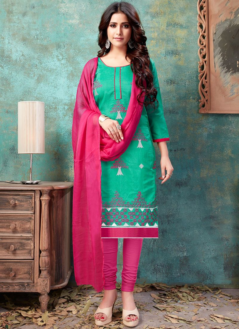 Embroidered Chanderi Cotton Churidar Suit in Sea Green